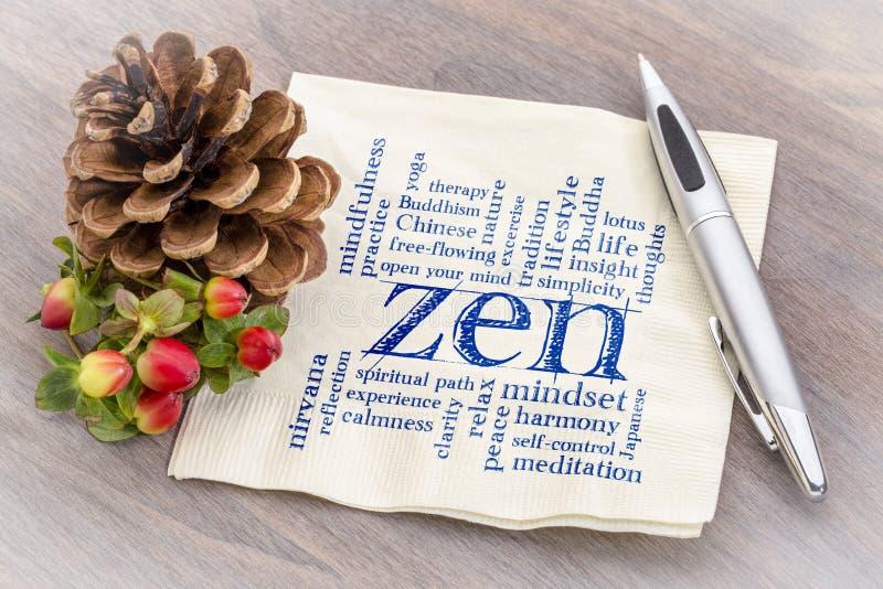 Nube de la palabra del zen en servilleta imagenes de archivo