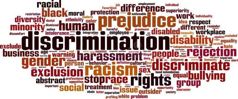 Nube de la palabra de la discriminación stock de ilustración