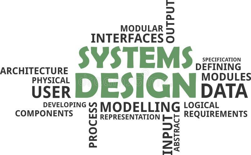 Nube de la palabra - diseño de sistemas ilustración del vector
