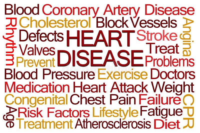 Nube de la palabra de la enfermedad cardíaca stock de ilustración