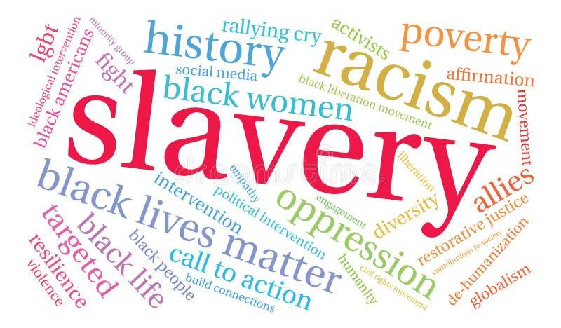 Nube de la palabra de la esclavitud ilustración del vector