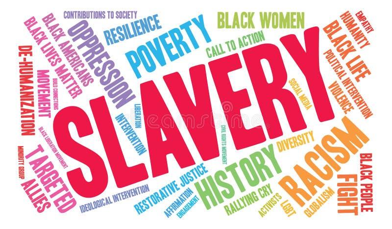 Nube de la palabra de la esclavitud stock de ilustración