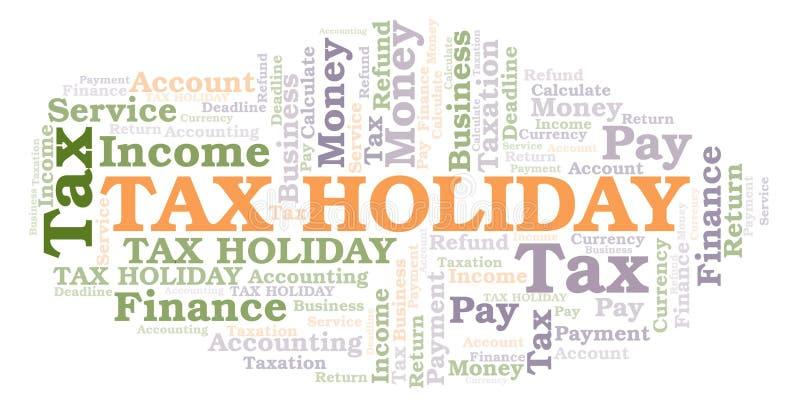 Nube de la palabra de la exoneración temporal de impuestos stock de ilustración