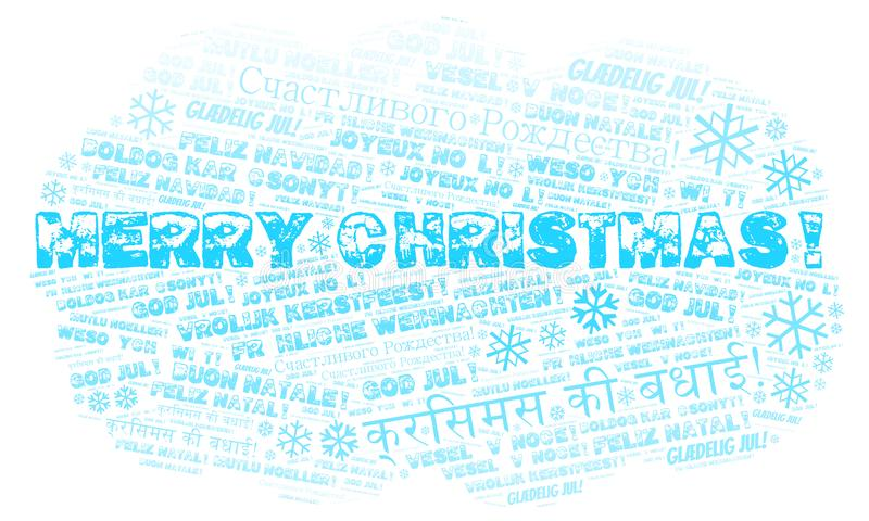 Nube de la palabra de la Feliz Navidad - Feliz Navidad en lengua inglesa y otros otros idiomas ilustración del vector