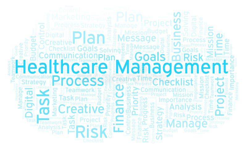 Nube de la palabra de la gestión de la atención sanitaria, hecha con el texto solamente libre illustration
