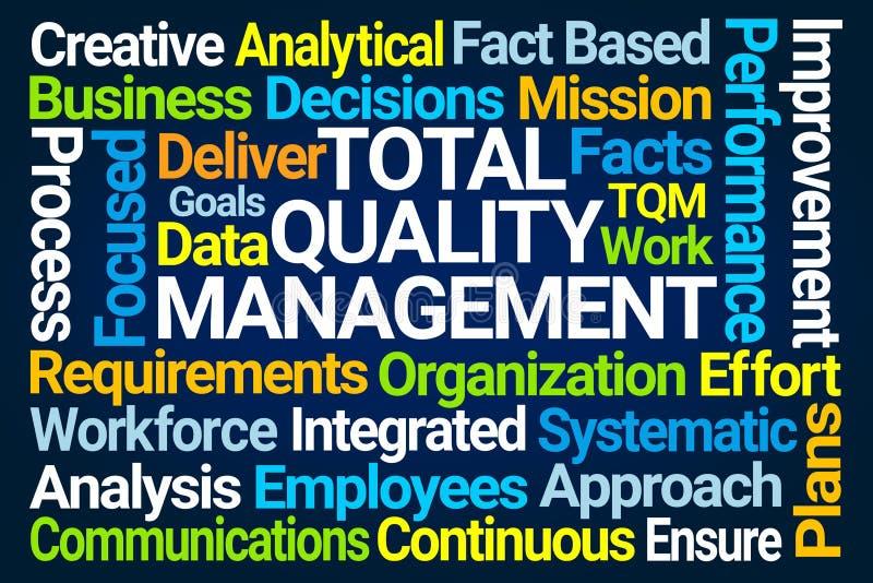 Nube de la palabra de la gestión de calidad total stock de ilustración