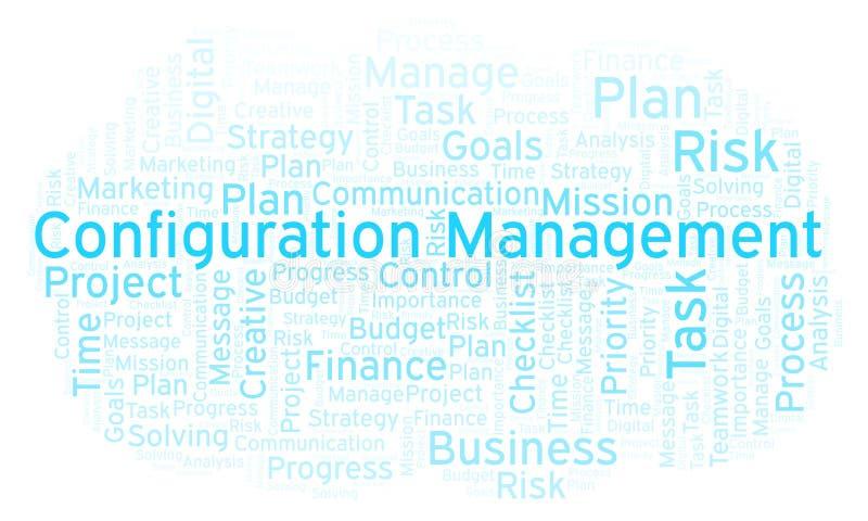 Nube de la palabra de la gestión de configuración, hecha con el texto solamente stock de ilustración