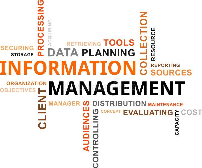 Nube de la palabra - gestión de la información stock de ilustración