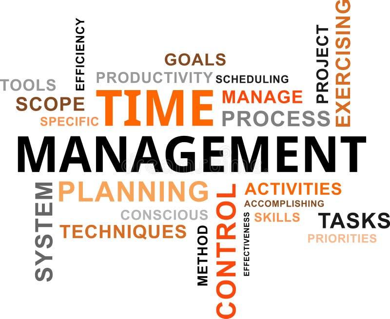 Nube de la palabra - gestión de tiempo stock de ilustración