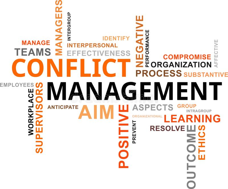 Nube de la palabra - gestión del conflicto stock de ilustración