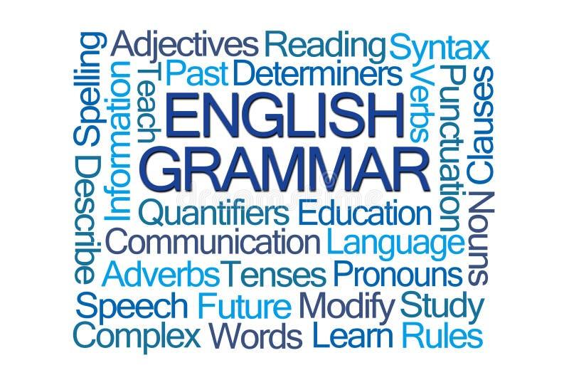 Nube de la palabra de la gramática inglesa ilustración del vector