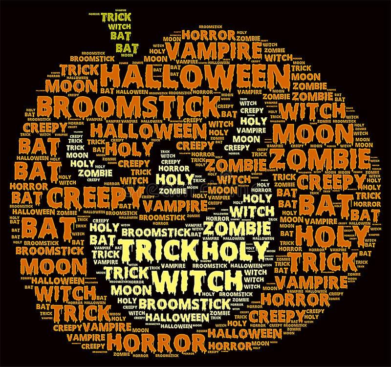 Nube de la palabra de Halloween imagen de archivo