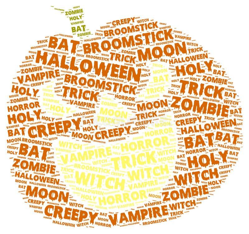 Nube de la palabra de Halloween en forma de una calabaza anaranjada fotografía de archivo