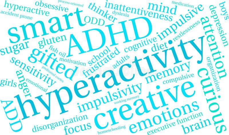 Nube de la palabra de la hiperactividad ilustración del vector