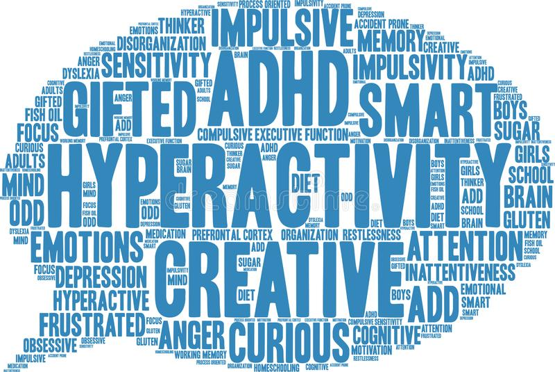 Nube de la palabra de la hiperactividad stock de ilustración