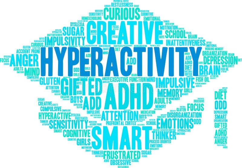 Nube de la palabra de la hiperactividad libre illustration