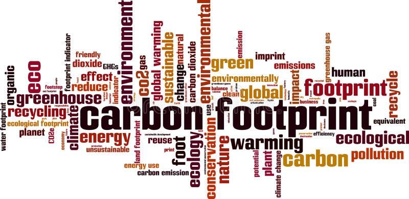 Nube de la palabra de la huella del carbono ilustración del vector