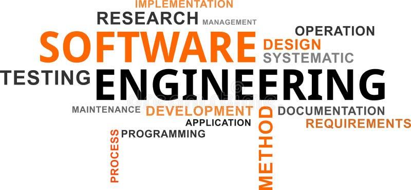 Nube de la palabra - ingeniería de programas informáticos stock de ilustración