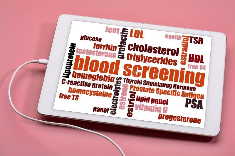 Nube de la palabra de la investigación de la sangre - concepto de la salud fotografía de archivo libre de regalías
