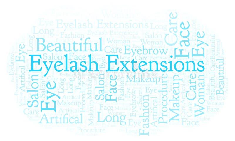 Nube de la palabra de las extensiones de la pestaña ilustración del vector
