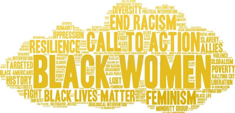 Nube de la palabra de las mujeres negras ilustración del vector