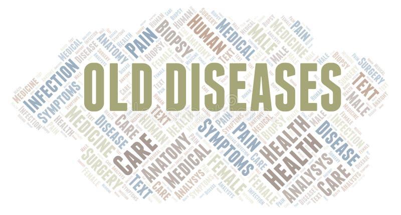 Nube de la palabra de las viejas enfermedades ilustración del vector
