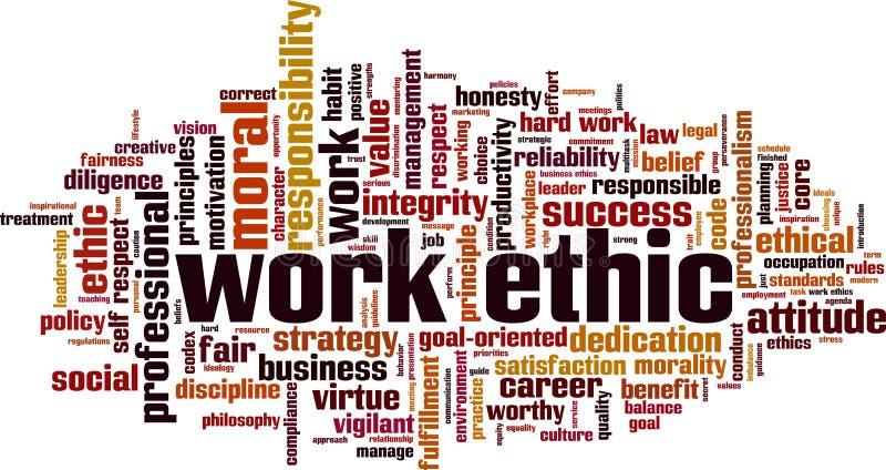 Nube de la palabra de los éticas de trabajo ilustración del vector