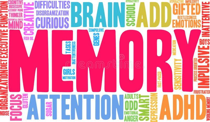 Nube de la palabra de la memoria stock de ilustración