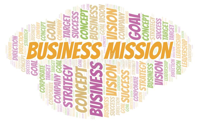 Nube de la palabra de la misión de negocio ilustración del vector