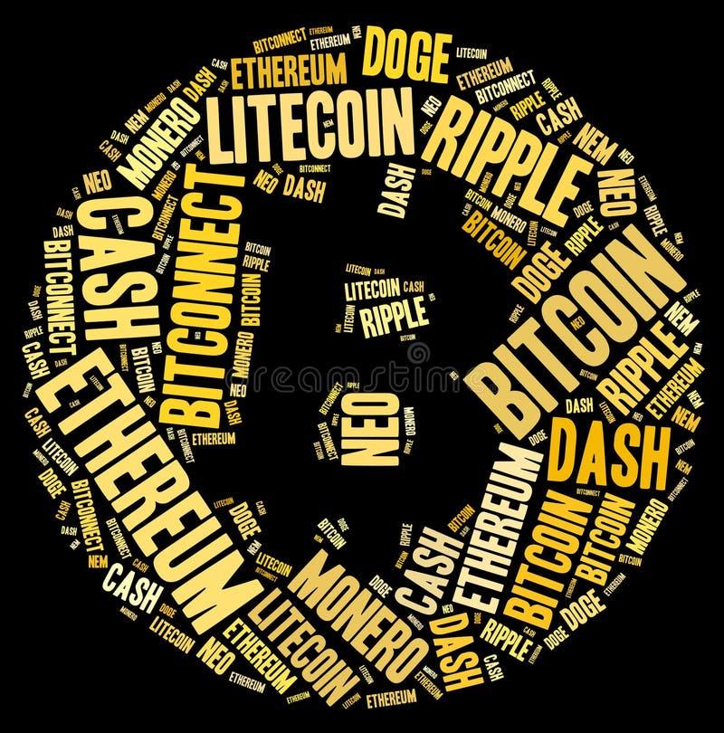 Nube de la palabra de la muestra de Bitcoin imágenes de archivo libres de regalías