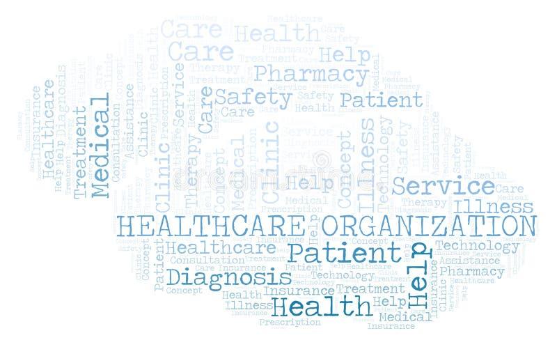 Nube de la palabra de la organización de la atención sanitaria ilustración del vector