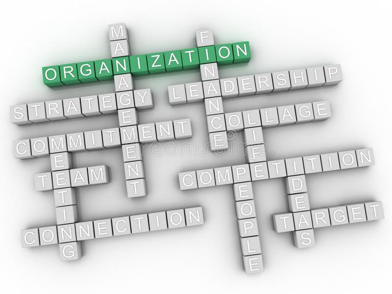 nube de la palabra de la organización 3d, fondo del concepto del negocio stock de ilustración
