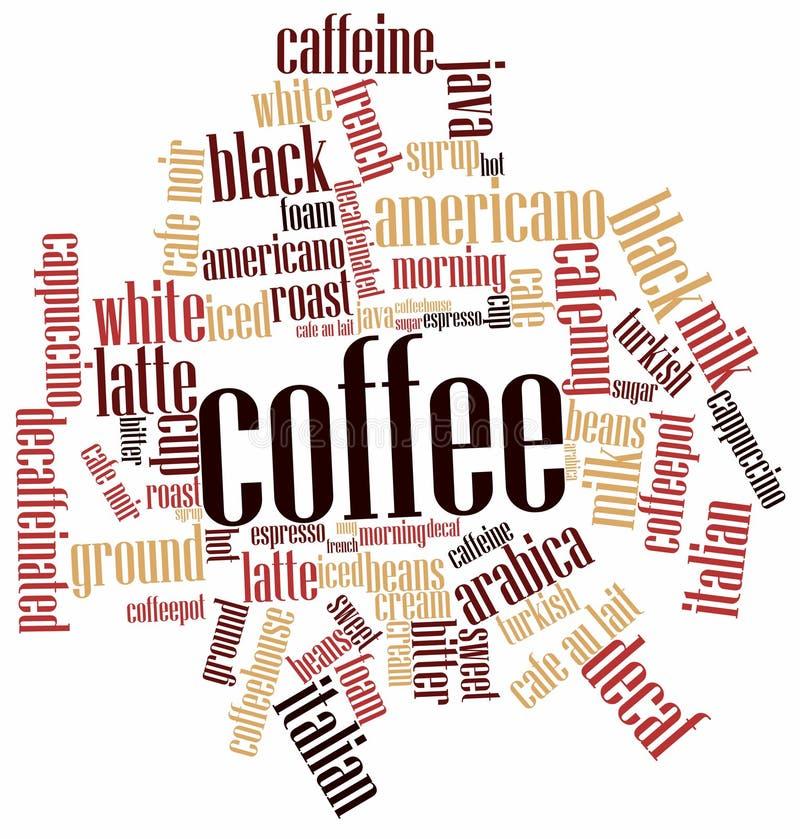 Nube de la palabra para el café stock de ilustración