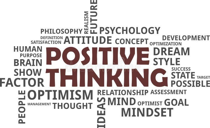 Nube de la palabra - pensamiento positivo stock de ilustración