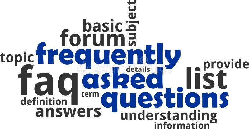 Nube de la palabra - preguntas con frecuencia hechas stock de ilustración