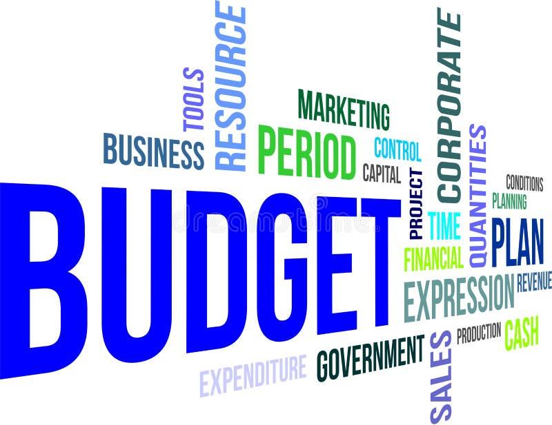 Nube de la palabra - presupuesto stock de ilustración