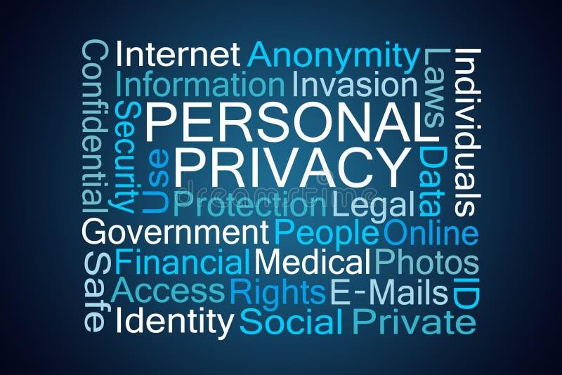 Nube de la palabra de la privacidad personal stock de ilustración