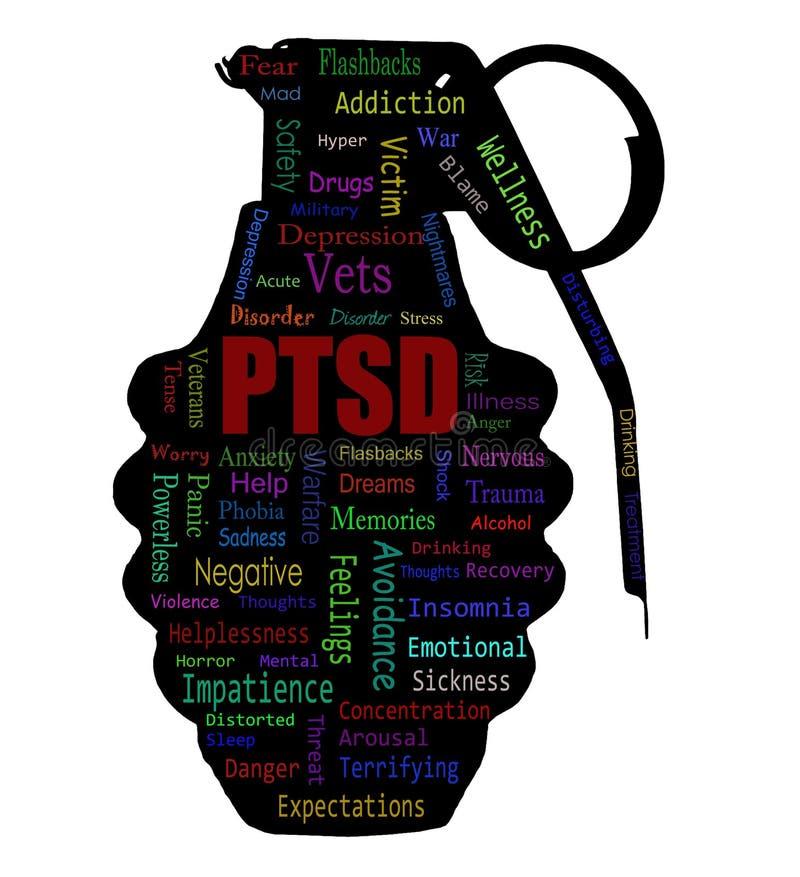 Nube de la palabra de PTSD imagen de archivo libre de regalías