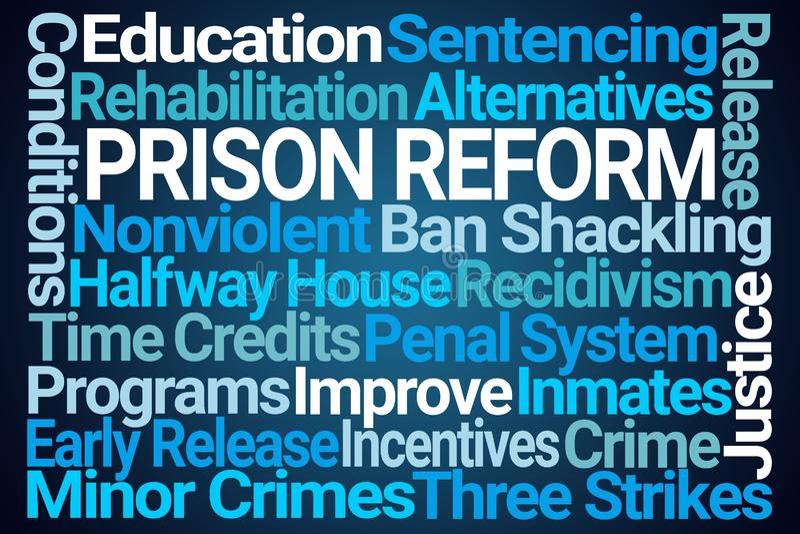 Nube de la palabra de la reforma de la prisión ilustración del vector