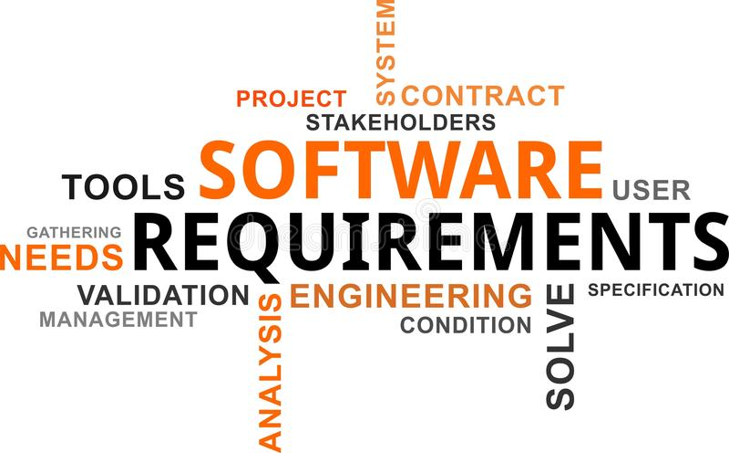 Nube de la palabra - requisitos del software stock de ilustración