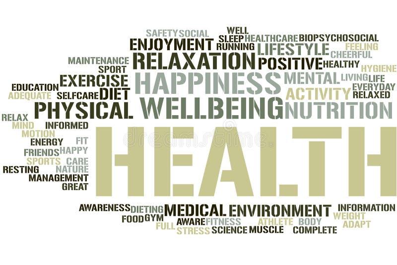 Nube de la palabra de la salud stock de ilustración