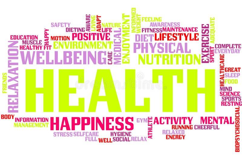 Nube de la palabra de la salud ilustración del vector