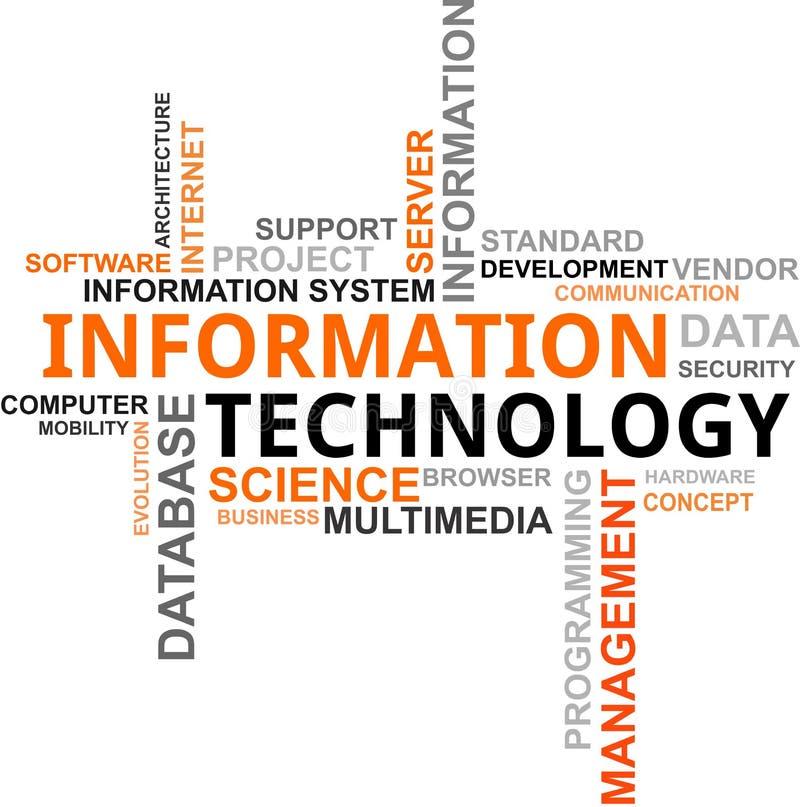 Nube de la palabra - tecnología de la información stock de ilustración