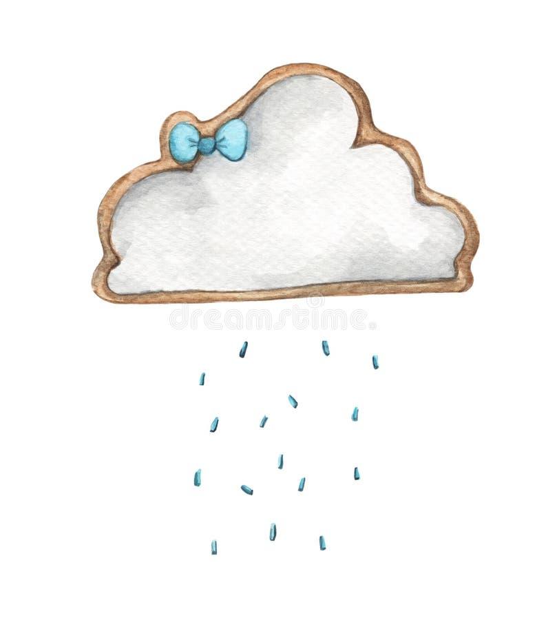 Nube de lluvia linda con gotas de lluvia Ejemplo de la comida Diseño de tarjeta para el bebé ilustración del vector