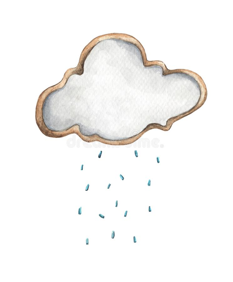 Nube de lluvia linda con gotas de lluvia Ejemplo de la comida Diseño de tarjeta para el bebé libre illustration