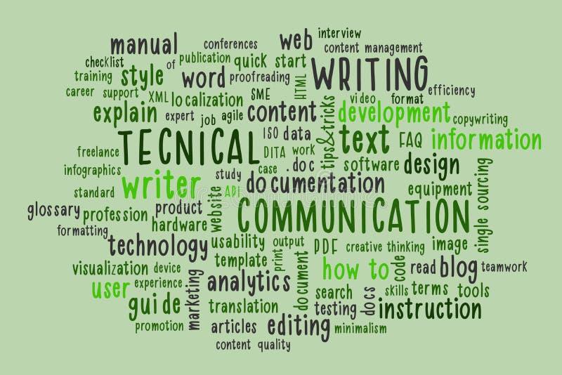 Nube de palabras de escritura técnica ilustración del vector