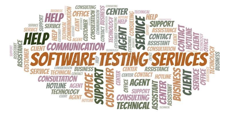 Nube de prueba de la palabra de servicios del software stock de ilustración