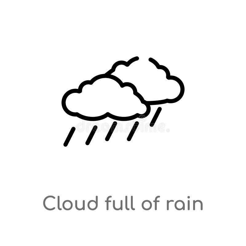 nube del esquema por completo del icono del vector de la lluvia línea simple negra aislada ejemplo del elemento del concepto del  ilustración del vector