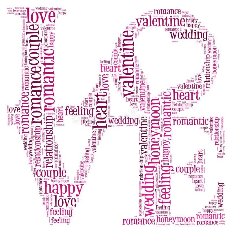 Nube del Info-texto del amor stock de ilustración