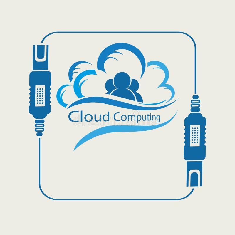 Nube del ordenador con la silueta de la gente ilustración del vector